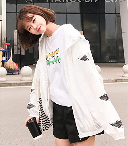 Con Chic Outerwear Bianca Giacca Stampato Pattern Cappuccio Fashion Primaverile Giubbino Eleganti Autunno Casual Manica Hipster Lunga Cute Donna Cappotto Cerniera Sciolto BgXSq