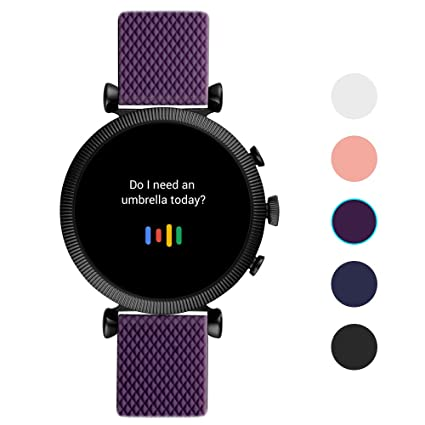 Qiyiguo Solid Color Band Compatible for Fossil Gen 4 Sloan HR Smartwatch Bands, 18mm Replacement Watch Band Compatible for Women Man- Purple