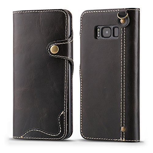 Galaxy S7 / S7 Edge / S8 / S8 Plus / Note 8 Leather Case , Genuine Cowhide Handmade Wallet Protective Vintage Flip Cover with Snap Magnetic Closure and Hand Strap for Samsung Galaxy