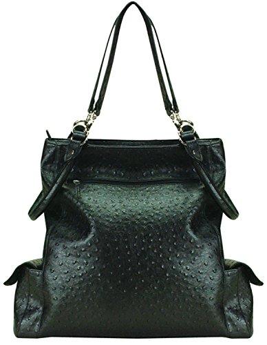 Manual Faux Ostrich Black Top Handled Handbags Ilebbo