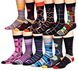 James Fiallo Mens 12 Pack Colorful Patterned Dress Socks M5800, Fits shoe size 6-12 (sock size 10-13)