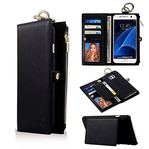 TYoung Classic Advanced PU Leather Wallet Case Multi-functional Zipper Handbag Detachable Case Magnetic Cover Retro Style Flip Cover with Card Slots and Cash Compartments Buckle Cover - Black