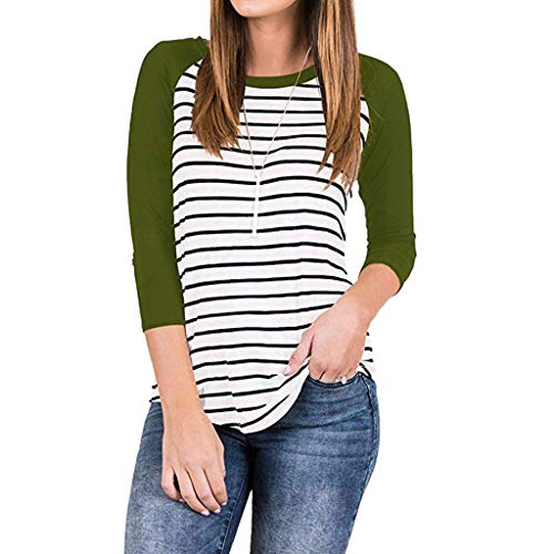 Ringer Fish T-shirt Kids (Sunhusing Women's Casual Round Neck Raglan Striped Splicing T-Shirt Loose 3/4 Sleeve Tunic Top Blouse)