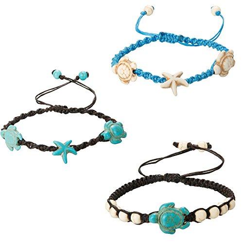 LOYALLOOK 3pcs Assorted Turtle Bracelet Hawaiian Sea Turtle Starfish Bracelet Handmade Bracelet Blue -