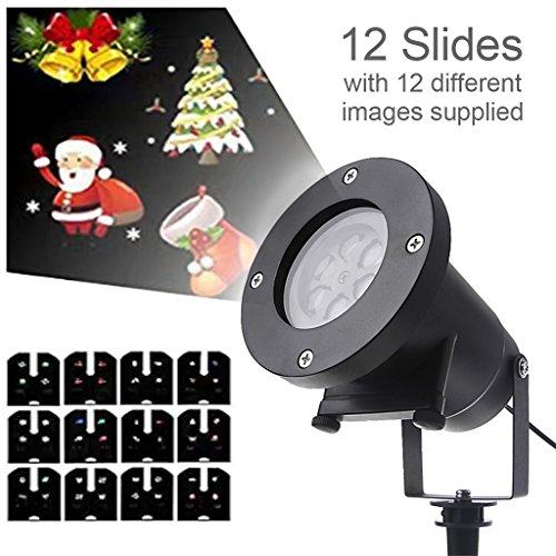 SYlive 2017 Christmas Projector Light, Waterproof Projector Rotating Landscape Lamp 12 Switchable Pattern LED Spotlight Christmas Party (Halloween Events Dc 2017)