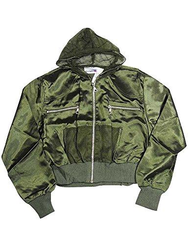 (Private Label - Little Girls' Satin Zip Front Jacket, Olive Black Shorter Crop Length 6764-14)