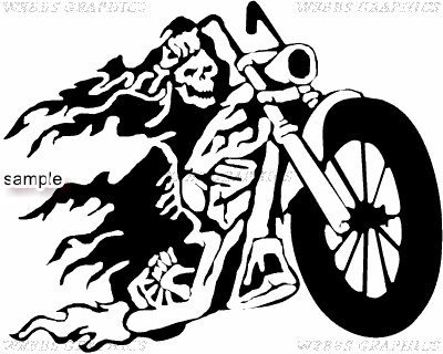Ghost rider motorcycle and flames skull white vinyl decal sticker