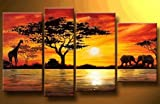 100% Hand Painted Abstract Art African Grassland Animals Modern Oil Painting on Canvas Wall Art Home Decoration 4 Piece Art on Canvas Stretch and Ready to Hang