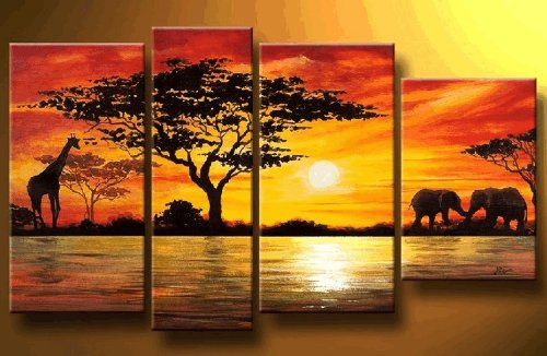 100% Hand Painted Abstract Art African Grassland Animals Modern Oil Painting on Canvas Wall Art Home Decoration 4 Piece Art on Canvas Stretch and Ready to Hang by Gaoya