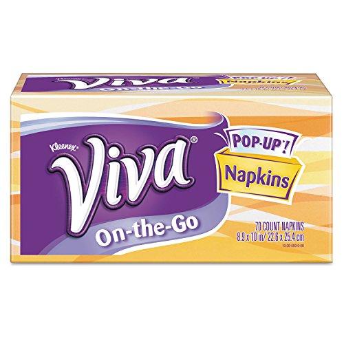 Viva 13097 On-The-Go Napkins, 1-Ply, 8 9/10 X 10, White, 70/pop-Up Box, 8 Boxes/carton (Popup Napkin)