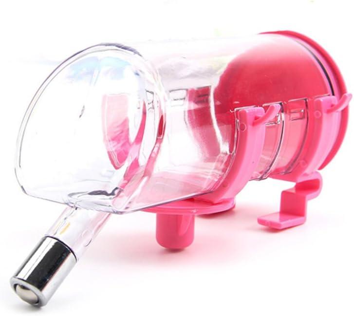 Ecloud Shop® 350ML Pet Colgando Fuente de Beber Botella de Agua Duradera Bebedor con Cabeza de Acero Inoxidable no tóxico de plástico de fácil Limpieza Rosa