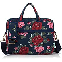 Kayond Canvas Fabric Ultraportable Neoprene Laptop Carrying Case / Shoulder Messenger Bag / Briefcase for Macbook, Acer, Dell, Hp, Sony,ausa,samsung,lenovo, Notebook (15-15.6, Bule Peony)