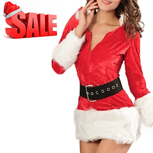 Mannice Women's Santa Costume Adult Miss Santa Suit Christmas Dress With Hood,Miss Clause Suit Belt Hat,Holiday Santa Dress,XS To S (Santa Adult Miss)