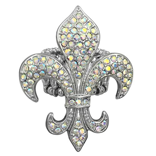 Gypsy Jewels Large Fleur De Lis Rhinestones Silver Tone Statement Stretch Cocktail Ring (Pointed AB Iridescent)