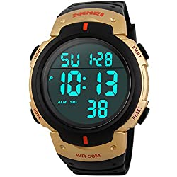 PASOY Men Women Digital Watch Big Dial Light LED Swim Waterproof Rubber Band Alarm Black LED Watches 50MM (gold)