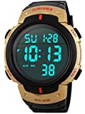 PASOY Men Women Digital Watch Big Dial Light LED Swim Waterproof Rubber Band Alarm Black LED Watches 50MM