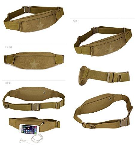 Outdoor Molle Taktisch Gürteltasche Bauchtasche Gürtelbeutel mit Kopfhöreranlass für Handy bis 6 Zoll Sport Taschen von Flyhawk,8 Farbe Y115-Wüsten-Digital