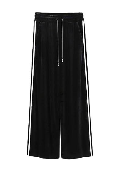 Breites Bein Hosen Herbst Winter Elegante Mode Damen Sporthose Vertikale  Streifen Samt Jungen Schöne Bandage Vordertaschen High Waist Locker Lang  Pants ... 18934dc150