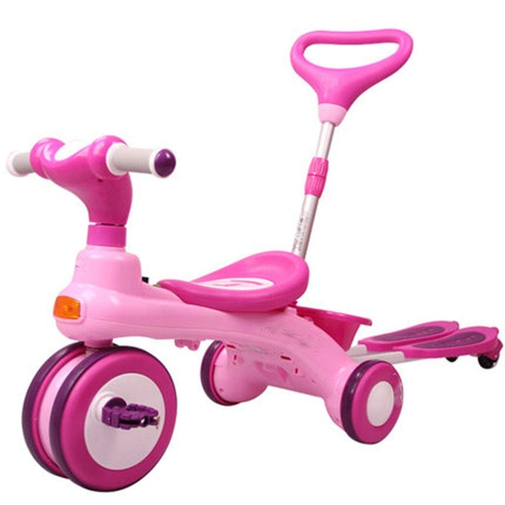 MGIZLJJ Three-in-one Scooter for Kids with Folding Removable Seat Zero Assembling Adjustable Height Kick Scooter for Toddlers Girls & Boys Fun Outdoor Toys for Kids Fitness PU Flashing Wheels Extra Wi by MGIZLJJ