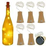 6 Pack Warm White Solar Powered Wine Bottle Lights,39inch 10 LED Bright Solar Lights for Bottles,Cork Bottle,String Lights Indoor,Copper Lights,Light In Bottle,Party Decor,Bottles for Lights