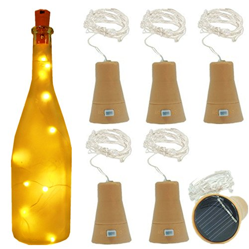 6 Pack Warm White Solar Powered Wine Bottle Lights,39inch 10 LED Bright Solar Lights for Bottles,Cork Bottle,String Lights Indoor,Copper Lights,Light In Bottle,Party Decor,Bottles for Lights