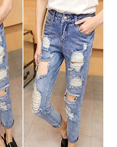 Stretti Vita Pantaloni Donna Jeans Skinny Matita Strappati Blu Alta qTxUEz
