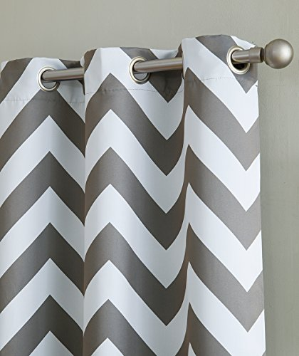 HLC.ME Chevron Print Thermal Insulated Room Darkening Blackout Window Curtain Panels for Bedroom - Set of 2 - 37