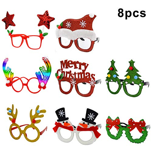 U-Goforst 8 PCS Christmas Holiday Party Fancy Glitter Headband Hats Glasses Frames Reindeer Antlers Photo Prop Booth (8 PCS Xmas Glasses)