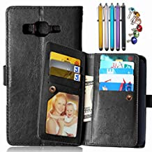LEMORRY Samsung Galaxy Grand Prime G530 Wallet Case, 2in1 TPU Cover + Flip Premium PU Leather Magnetic Bumper Protective Pouch Black