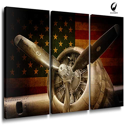 Vintage Fighter Bomber Head Propeller Canvas Prints Wall Art Pictures Warplanes print on canvas Retro Red and Yellow American Flag with Military Aircraft Black and White Metallic Body Plane 3 Panels -