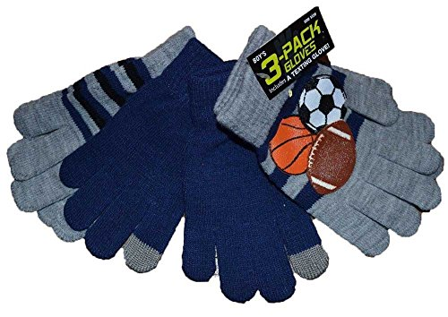 Junior Boys 3 Pack Gloves With One Texting Glove One Size 4-7 Gray Blue Sports by Kohl's