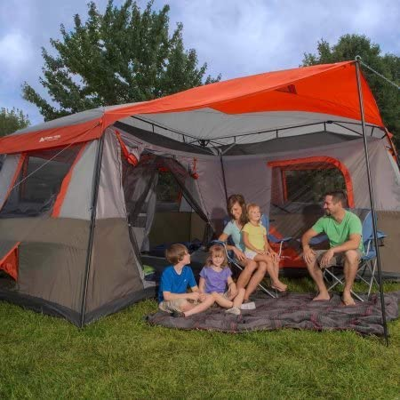 12 Person Instant Cabin 16×16 3-room Tent in Brown Red