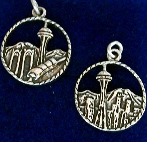 1 Sterling Silver 22x17mm Seattle Washington Skyline Disk Charm Vintage Crafting Pendant Jewelry Making Supplies - DIY for Necklace Bracelet Accessories by CharmingSS -