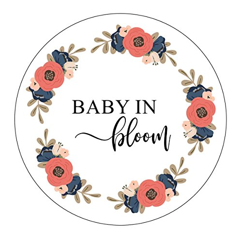 Baby in Bloom Stickers, Pink and Navy Blue Baby Shower, Favor Stickers, Labels, Seed Favors, Baby Shower Favor Stickers, Baby Shower Favor Tags, Garden Shower Favor Stickers