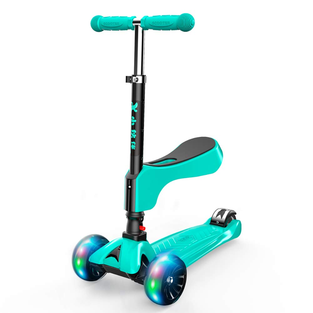 キックボード本体 男の子/女の子、ティーンズのための1キックスクーターの2インチ座席、緑の3つの調節可能なハンドルバー点滅スクーター