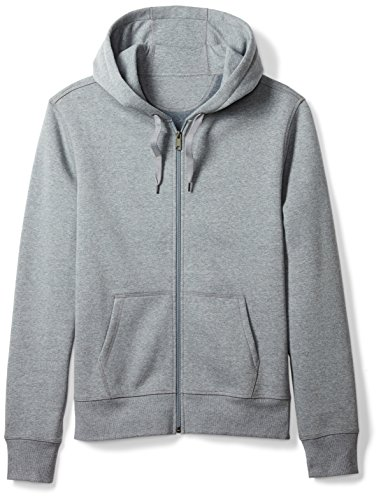 Amazon Essentials Men's Full-Zip Hooded Fleece Sweatshirt, Light Grey Heather, Small