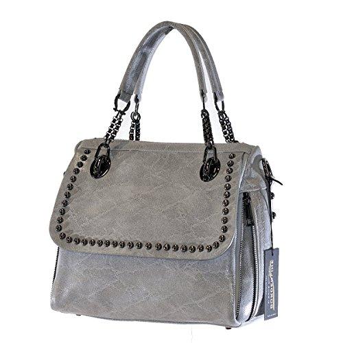 BORDERLINE - 100% Made in Italy - Exclusif sac souple Femme en cuir véritable avec boutons - JESSICA Gris Brillant