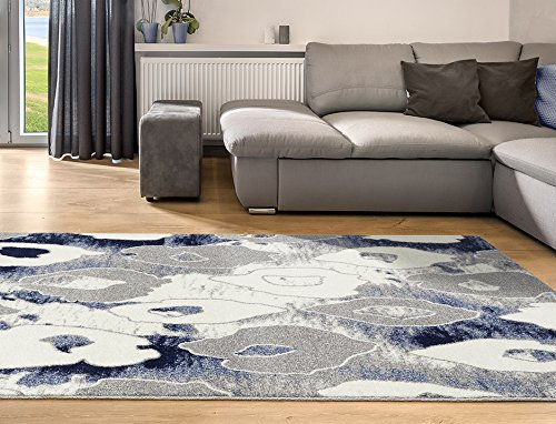 Adgo Ravenna Collection Modern Contemporary Elegant StylishFloral Pattern Design Live Vivid Color Jute Backed Area Rugs Tall Pile Height Soft and Fluffy Indoor Floor Rug, Navy Grey White, 5' x 7'