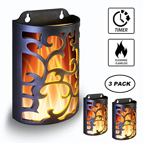 WRalwaysLX Decorative Lanterns with Timer, Candle Light Flameless Candles Indoor/Outdoor Wall Sconces,Flickering Flames Wall Light for Hallway, Bathroom,Use 3AA Battery(NOT Included),3 Pack