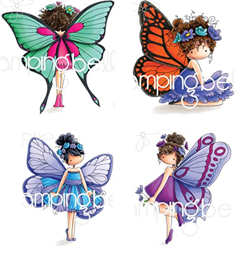 Stamping Bella Tiny Townie The Butterfly Rubber Stamp Bundle with Babette, Bess, Blanche, and Brianna (Set of 4 Items) Belle Crest