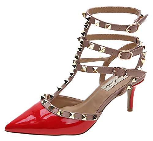 8 strap Sandals CM Women's Leather Pumps Studded T Red Buckle Royou Dress Sandals Yiuoer 7BwY6Hq