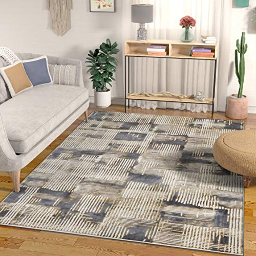 Rectangle Rug Antique Gold (Well Woven Canny Grey & Yellow Modern Geometric High-Low Pile Area Rug 3x5 (3'11