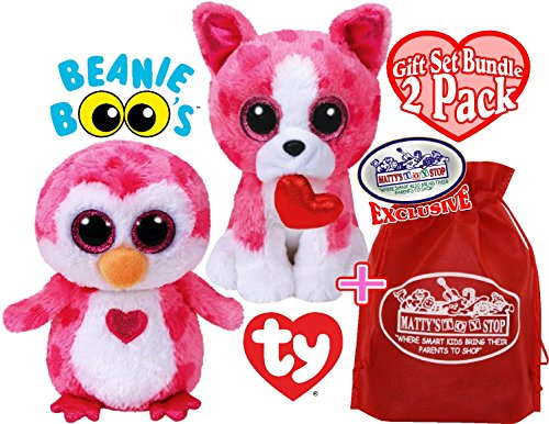 TY Beanie Boos Romeo (Pink/White Dog) & Juliet (Pink/White Penguin) Valentine's Day Gift Set Bundle with Bonus