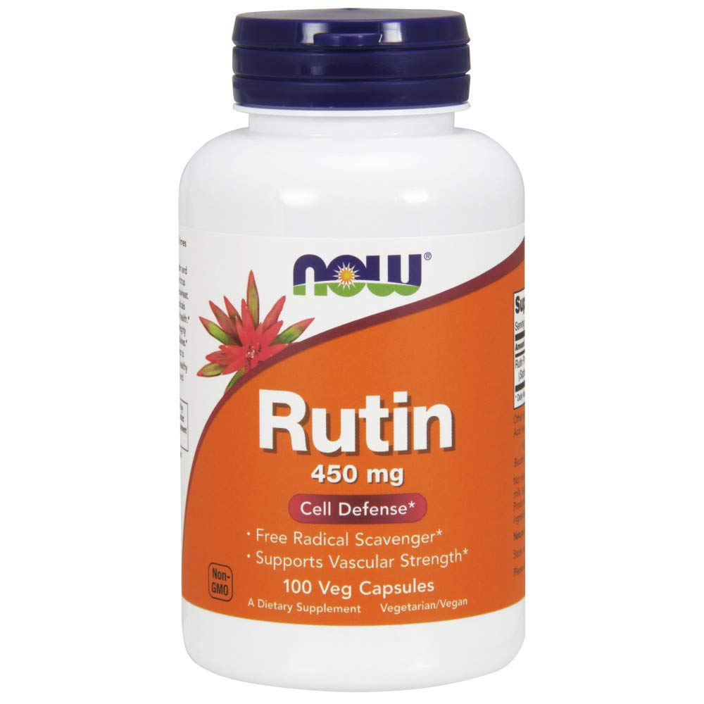 NOW Supplements, Rutin (Sophora japonica) 450 mg, Free Radical Scavenger*, Cell Defense*, 100 Veg Capsules