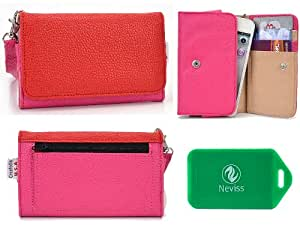 Ladies *Metro series* Red/Hot Pink Universal Wristlet Wallet for Acer beTouch E140