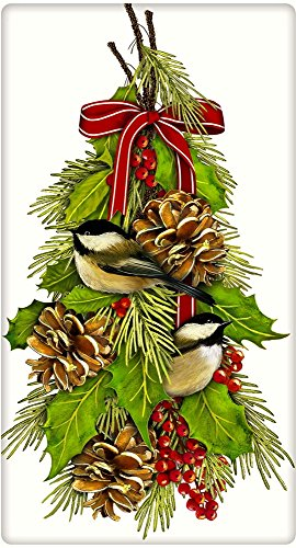 Chickadee Hanging Christmas Holly 100% Cotton Flour Sack ...