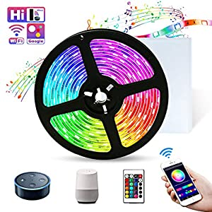 Smart WiFi LED Strip Lights Works with Alexa, 16 Million Color Changing Sync to Music Mood Lighting Tape Lights,16.4ft RGB SMD 5050 Flexible Rope Light for Bedroom, Kitchen, TV, Party for iOS&Android