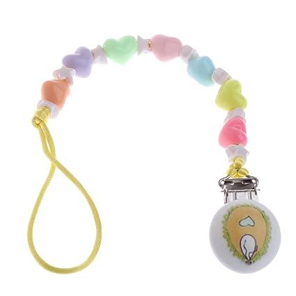 MIsha Cadena chupete bebe clip clip chupete de madera (L): Amazon ...