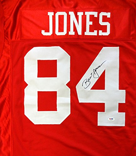 SAN FRANCISCO 49ERS BRENT JONES AUTOGRAPHED RED JERSEY PSA/DNA STOCK #83640