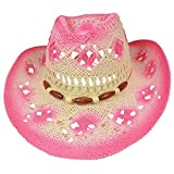 SILVERFEVER Silver Fever Fashionable Woven Straw Cowboy Hat with Cut-Outs and Beads